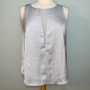 2 tone silver deep v look sleeveless blouse